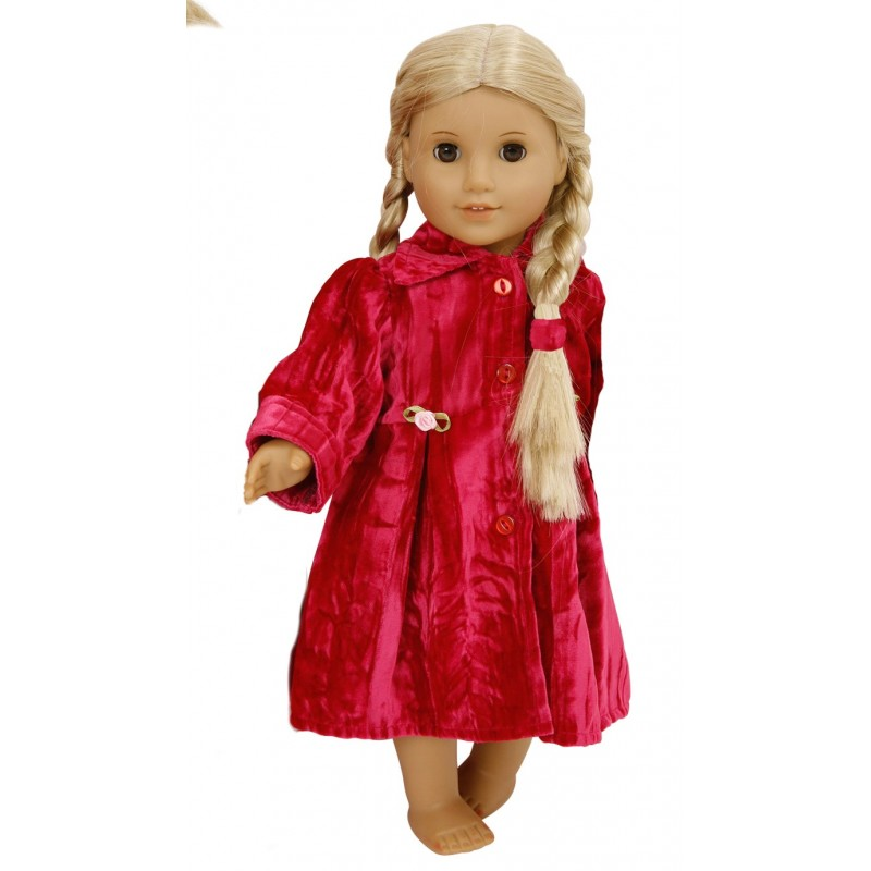 crushed velvet dolls coat to fit baby annabell doll
